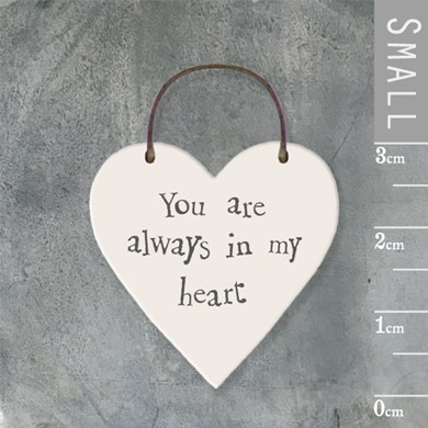 'Always in my heart' wooden tag