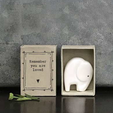 'You are loved' matchbox elephant